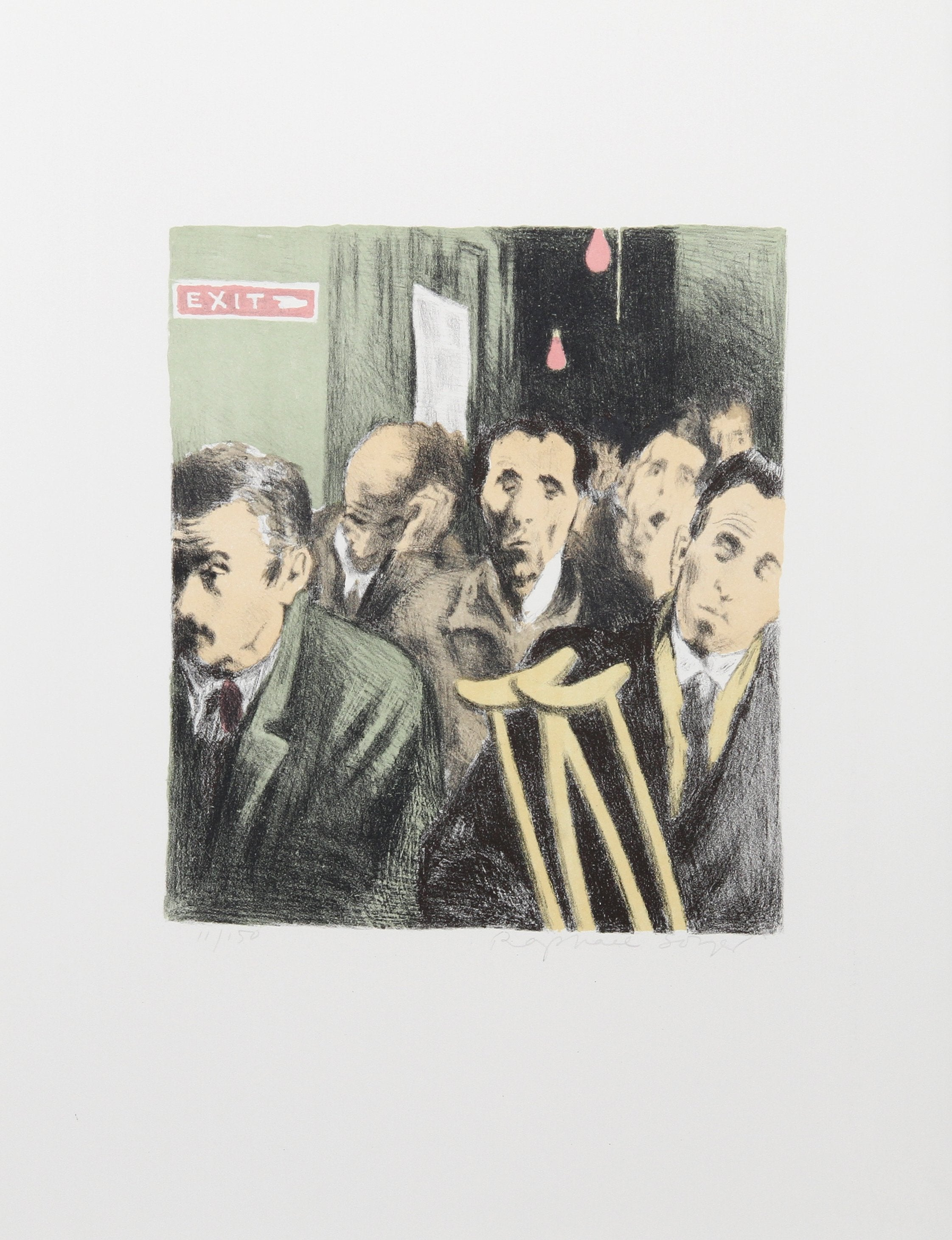 Raphael Soyer, Subway Exit from the Memories Portfolio Lithograph - RoGallery