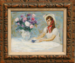 Thomas Strickland, Girl and Flower Bouquet Oil - RoGallery
