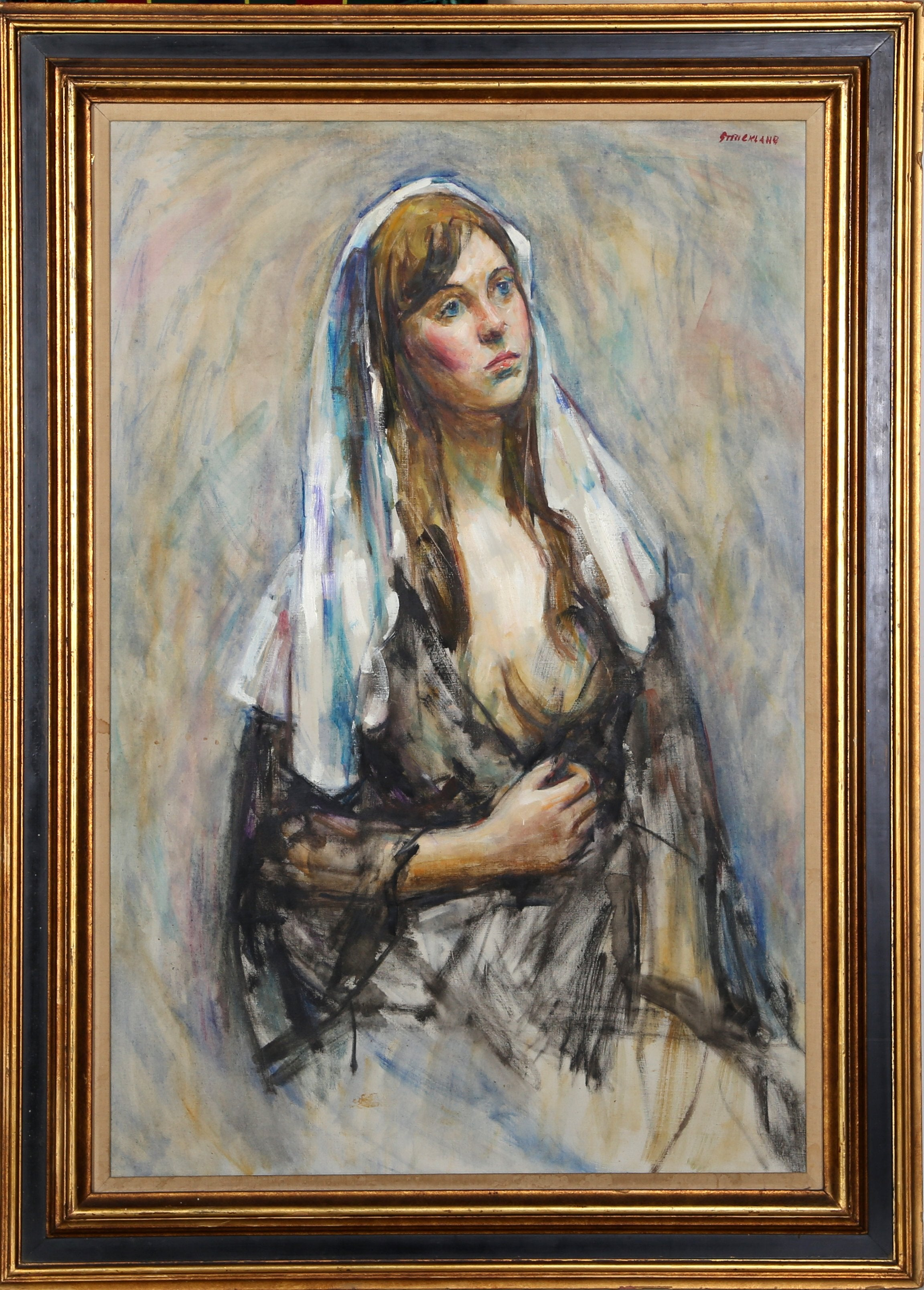 Thomas Strickland, Joanne, White Scarf Oil - RoGallery