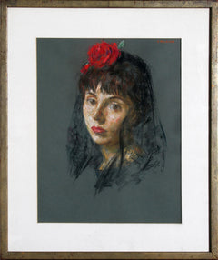 Thomas Strickland, Lourdes with Red Rose Pastel - RoGallery