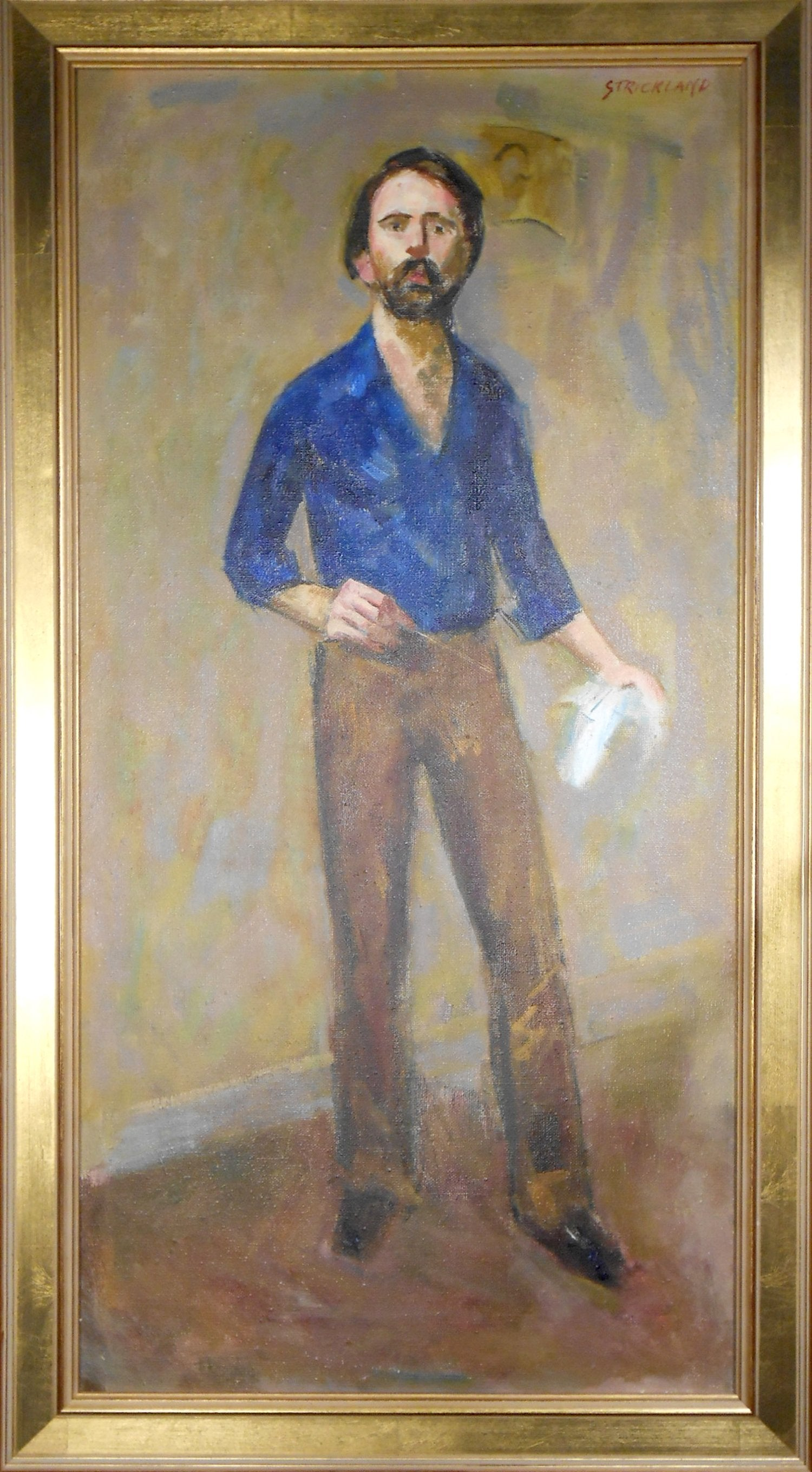 Thomas Strickland, Self Portrait (Standing with Paintbrush) Oil - RoGallery