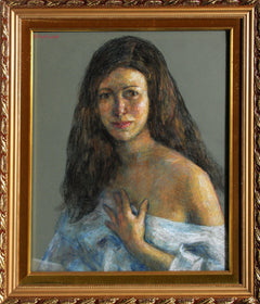Thomas Strickland, Woman in Blue Pastel - RoGallery