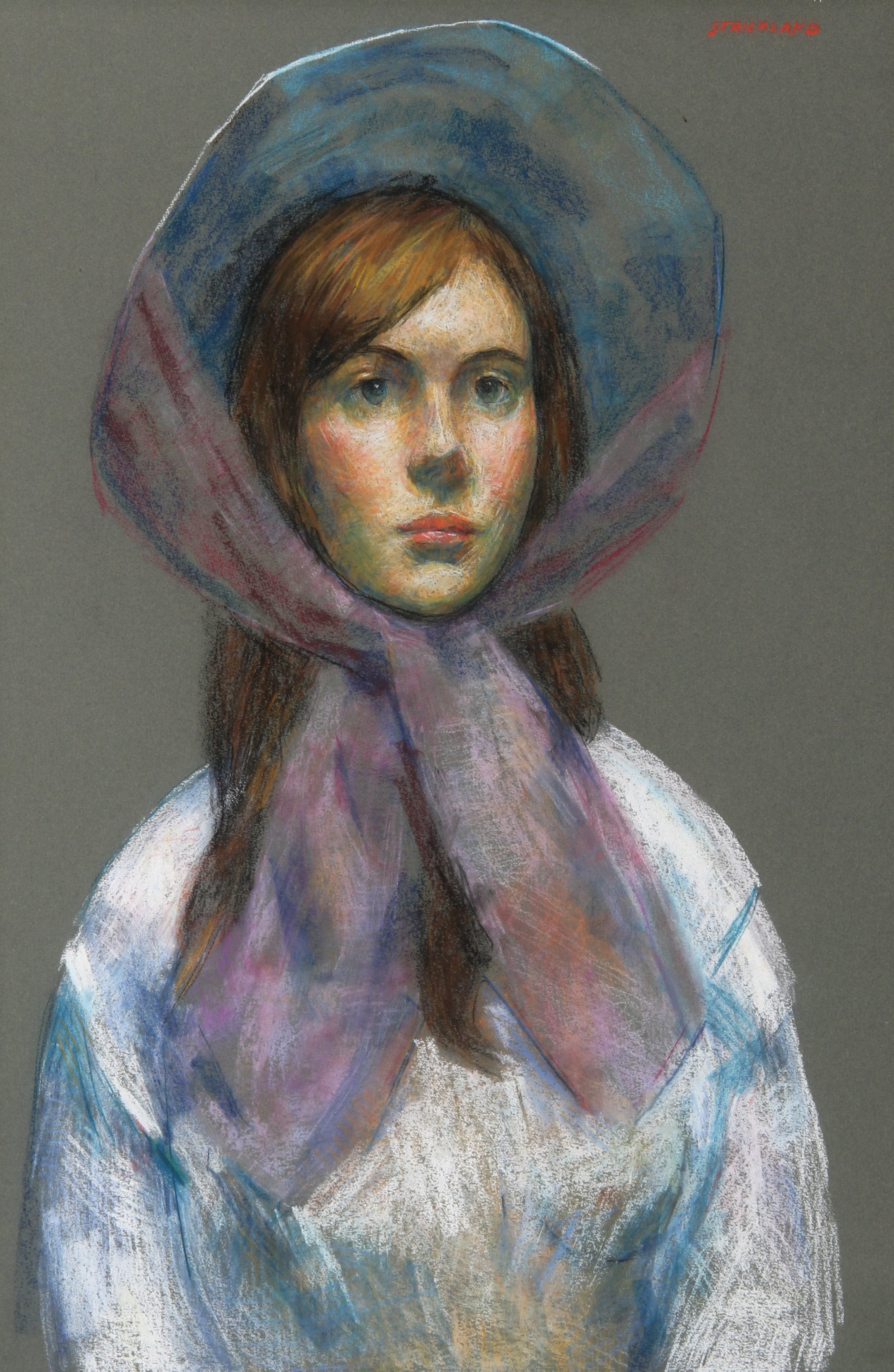 Thomas Strickland, Girl with Bonnet Pastel - RoGallery