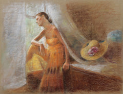 Thomas Strickland, Woman at the Window Pastel - RoGallery