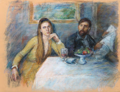 Thomas Strickland, Couple at Table (Self-Portrait) Pastel - RoGallery