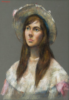 Thomas Strickland, Young Woman in Floral Dress Pastel - RoGallery