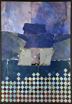 Dan Teis, Blue Abstract with Grid Acrylic - RoGallery