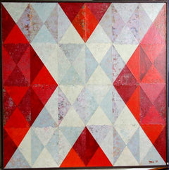 Dan Teis, White X on Red Mixed Media - RoGallery