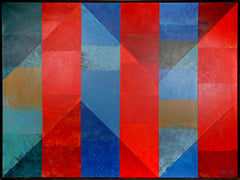 Dan Teis, Blue and Red Angled Stripes Oil - RoGallery