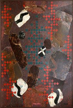 Dan Teis, Floating Abstract Shapes on Brown Oil - RoGallery