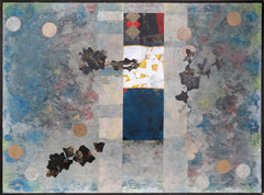 Dan Teis, Blue Abstract with Leaves Oil - RoGallery