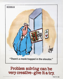 Jim Unger, Herman - Problem Solving Can Be Very Creative - Give it a Try Poster - RoGallery