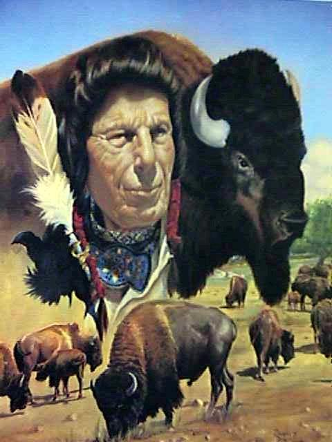 Douglas Weaver, Native American Man and Bison Lithograph - RoGallery