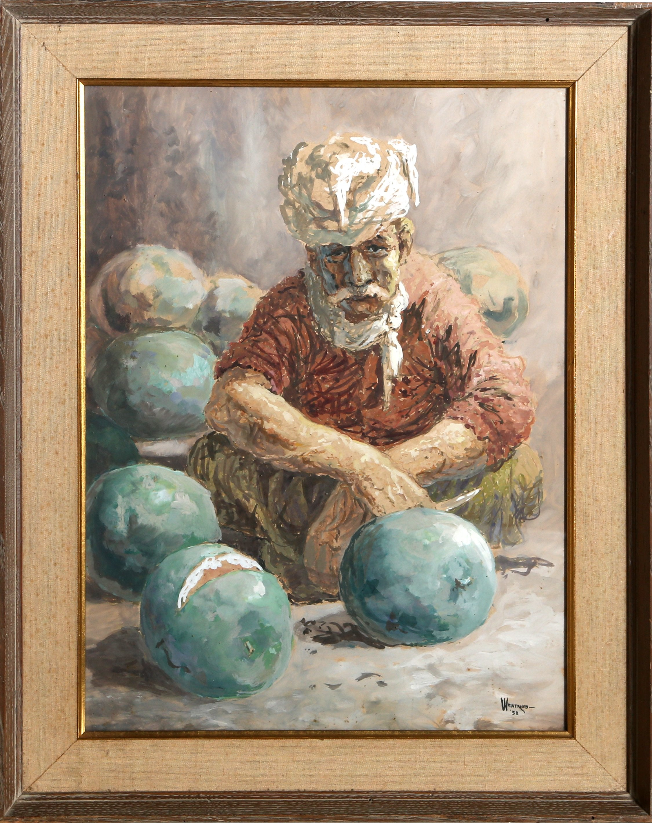 William Weintraub, Seated Man with Melons Gouache - RoGallery