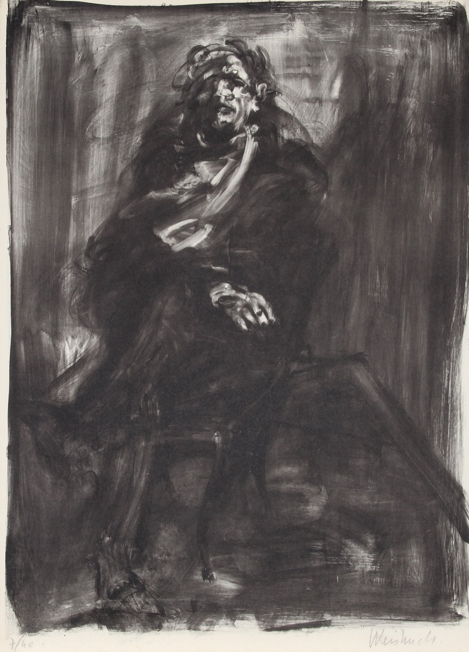 Claude Weisbuch, Seated Man Lithograph - RoGallery