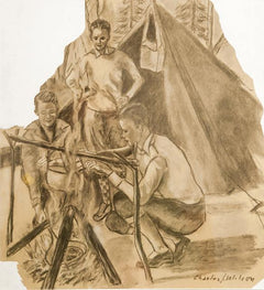 Charles J. Wilson, Three Boys Camping Pencil - RoGallery
