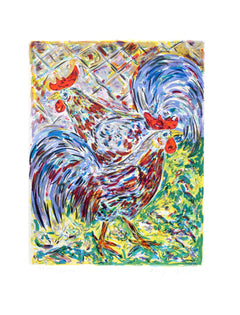 Amos Yaskil, Roosters Lithograph - RoGallery