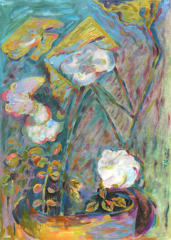Miriam Yentel, Roses and Folded Leaves Oil - RoGallery