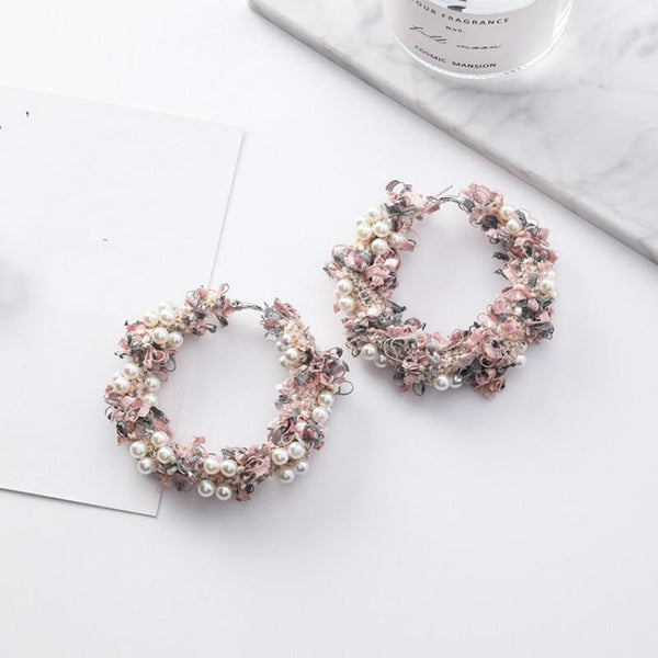 Ribbon Pearl Hoops