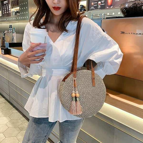 Round Straw Tassel Bag