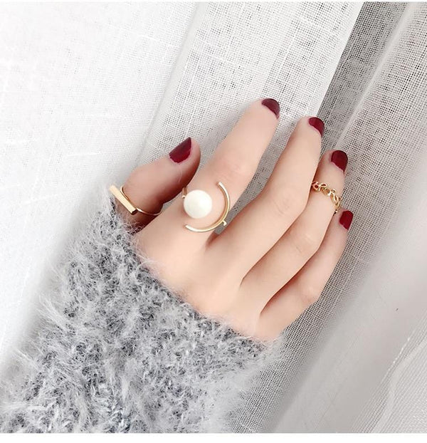 Gold Pearl Ring Set