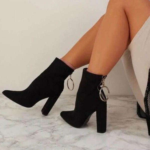 Keychain Zipper Ankle Boots