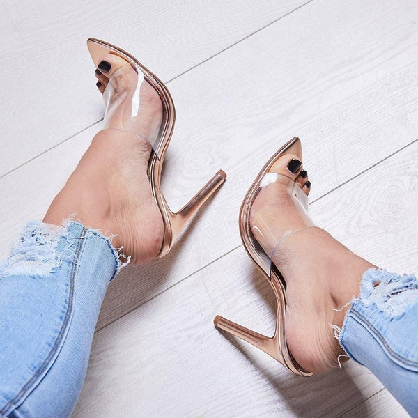 Transparent Gold Thin High Heels