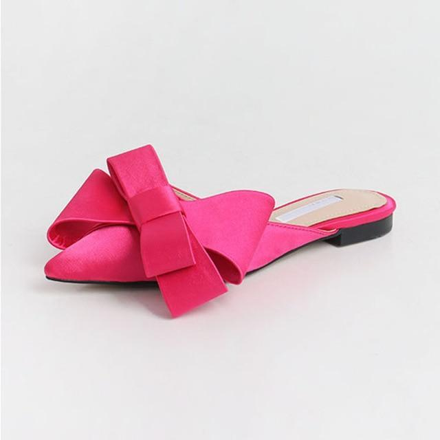 Satin Pointed Bow Slippers