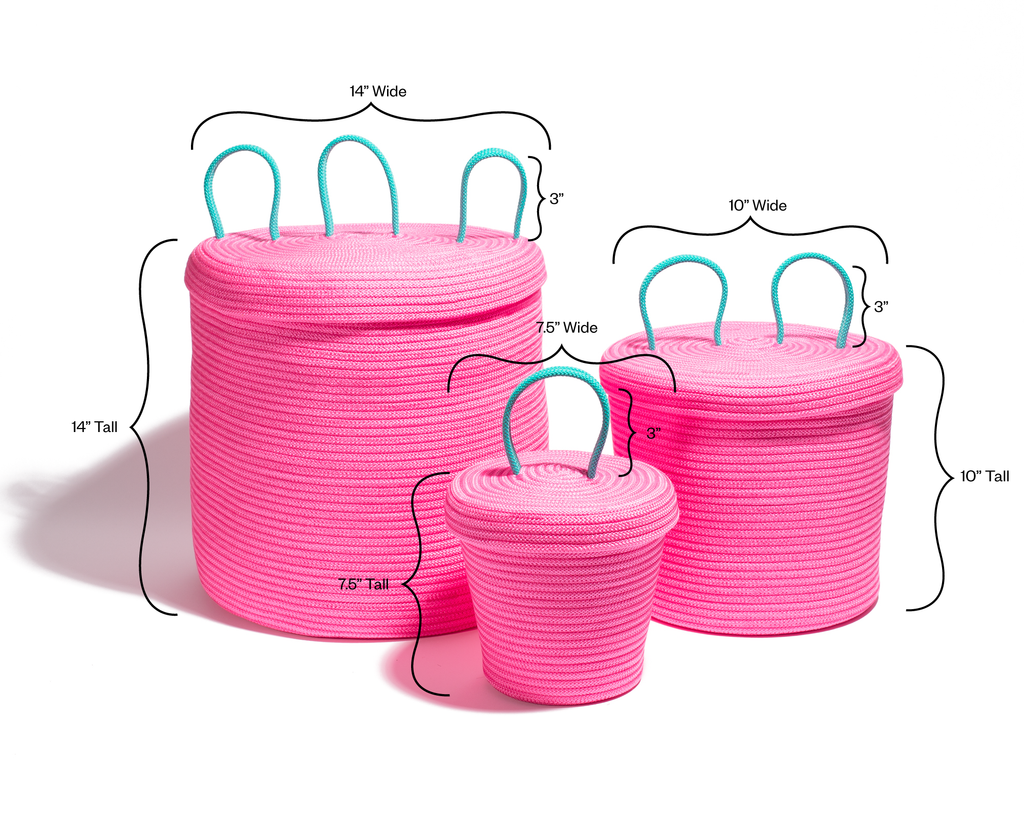 Large Loopy Lid Basket - Pink
