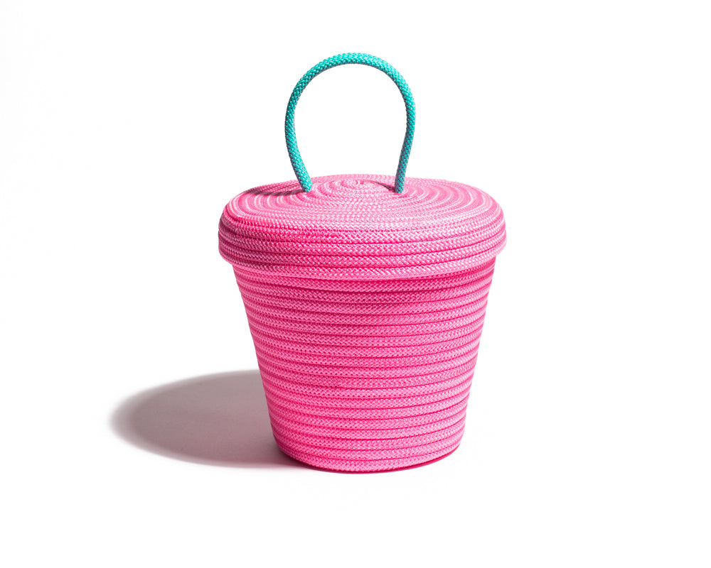 Small Loopy Lid Basket - Pink