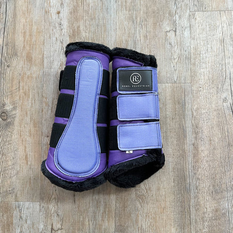 rebel equestrian chromatic purple collection brushing boots