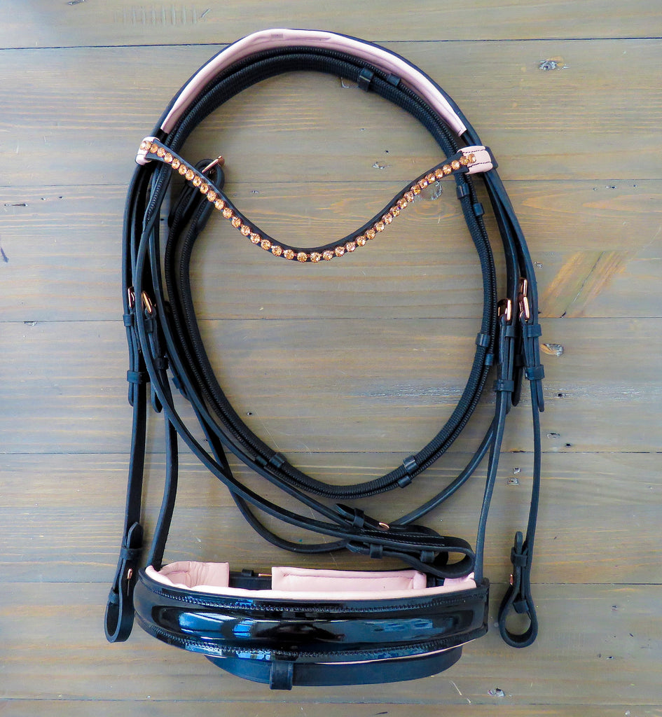 Rose Gold & Patent Bridle - Rebel Equestrian