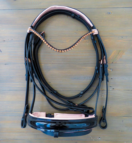 rebel equestrian collection dressage rose gold bridle