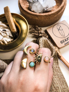 D'Moon Amazonite Brass Ring