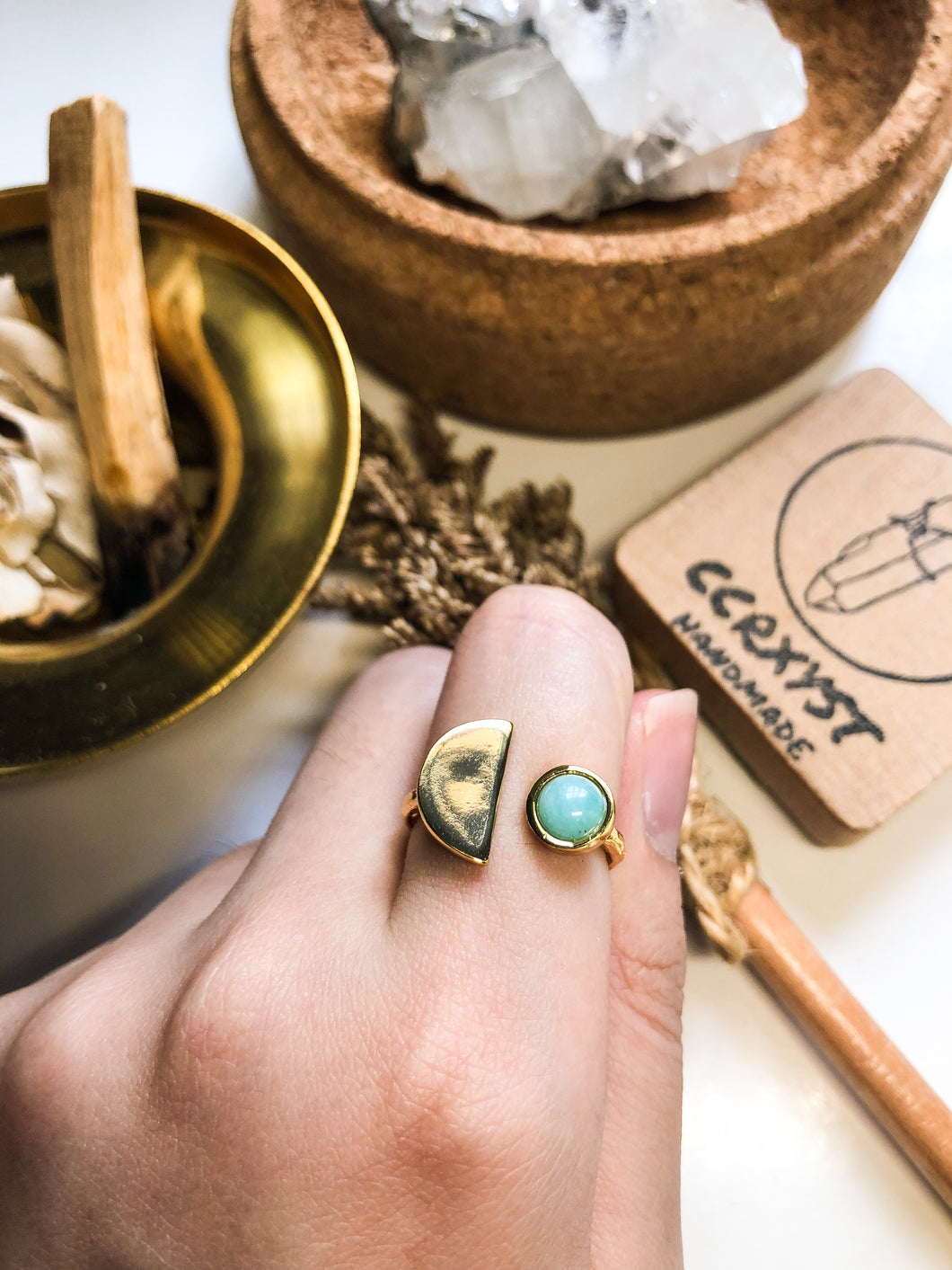 D'Moon Amazonite Gold Ring