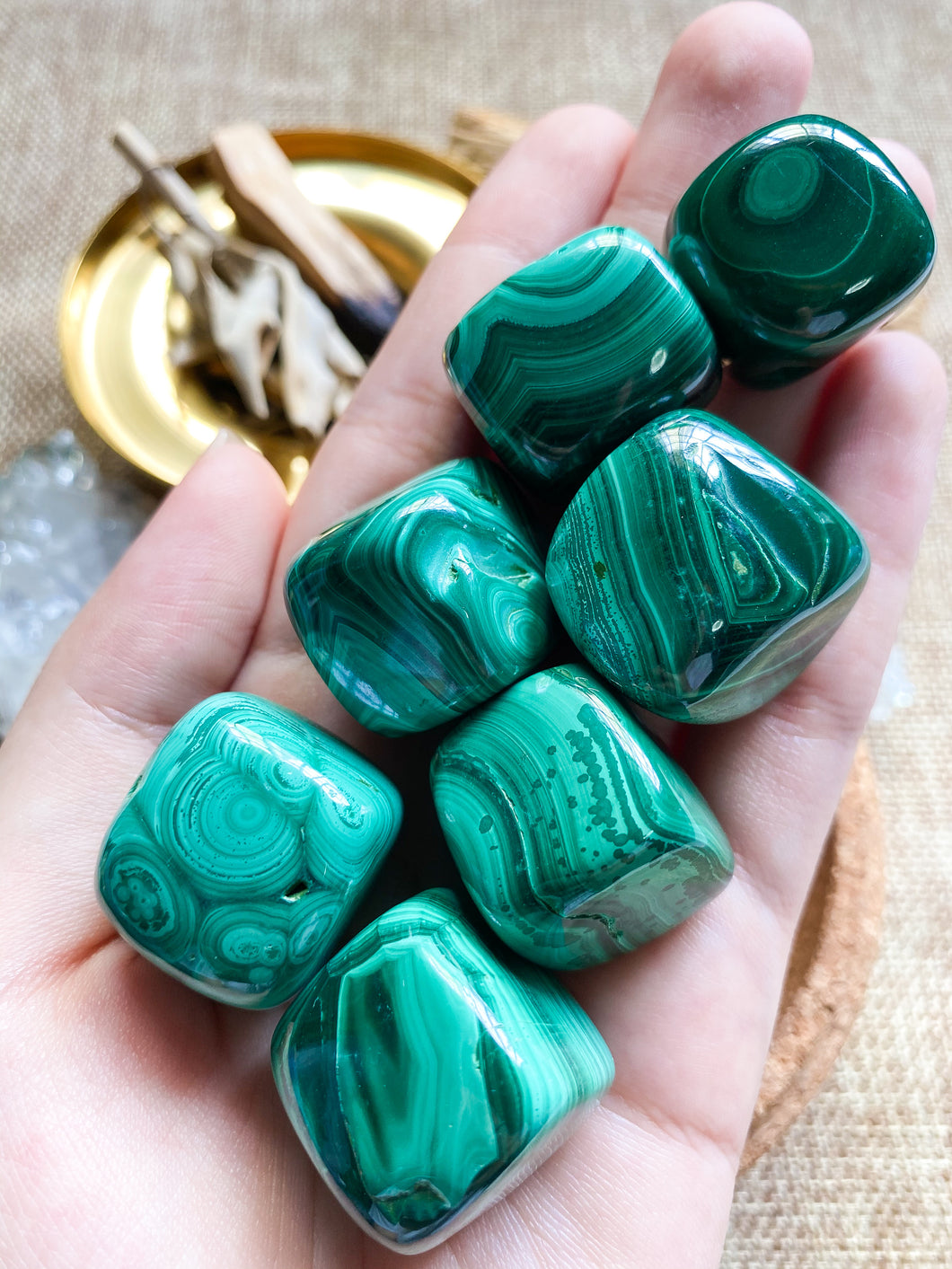 Malachite Tumbled (Cubes)