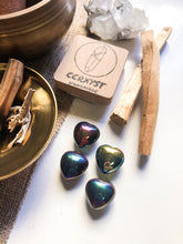 Load image into Gallery viewer, Titanium Aura Pyrite Miniature Heart