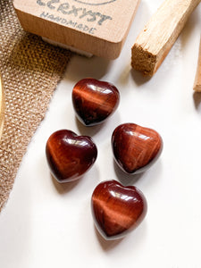 Red Tiger's Eye Miniature Heart