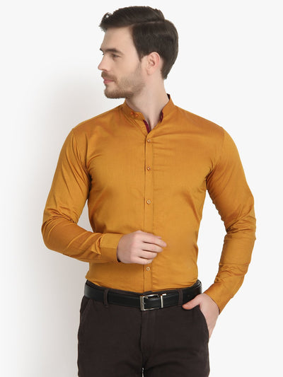Men's Formal Dark Golden Shirt Ban Collar Code-1020