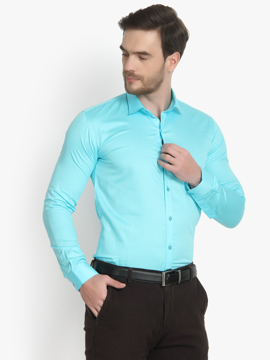 Mens Formal Turquoise Blue Cotton Shirt- Code-1021