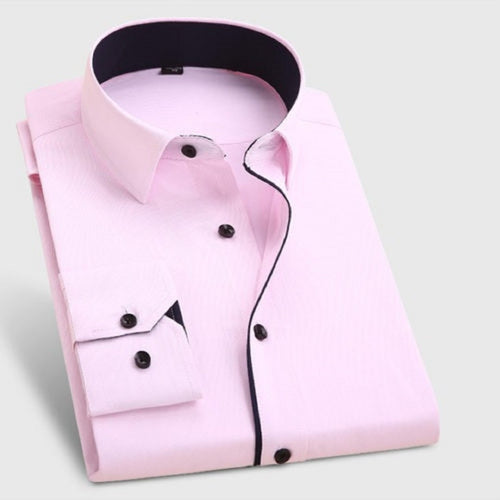 Pink Formal Shirt With Black button Code-1038