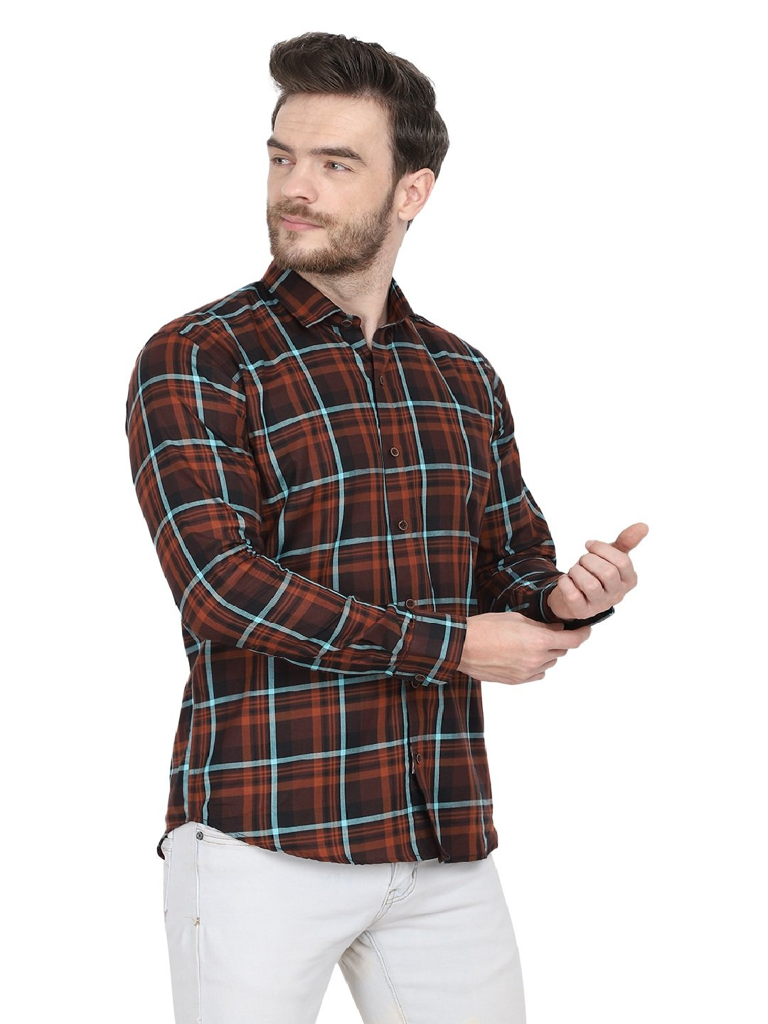 Mens Formal Brown Cotton Check Shirt -1093