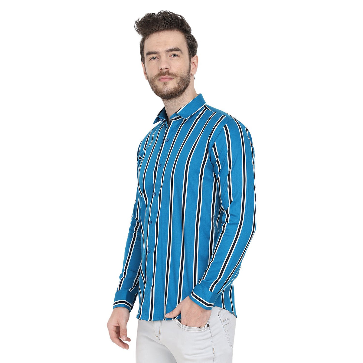 Mens Formal Blue Cotton Stripe Shirt Code-1023