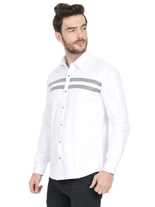 Designer With Grey Line Party Casual White Smart Shirt Code-1006