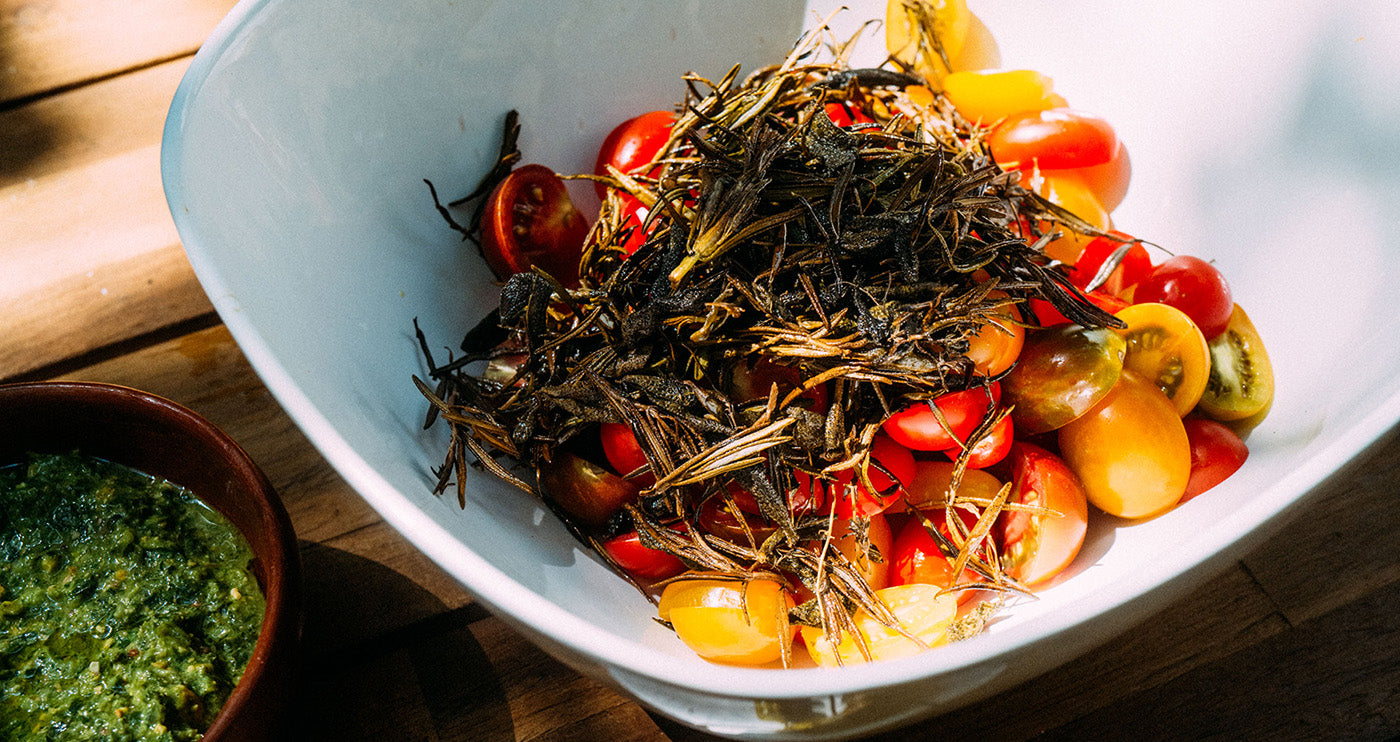 Roasted Herb Heirloom Tomato Salad with CBD Oil