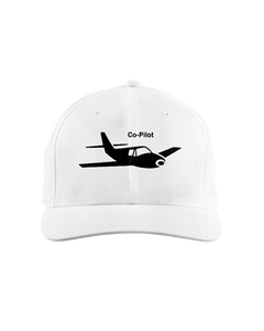 Co-Pilot single Low wing Cap black on light  background