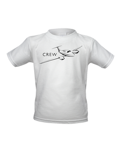 Crew small jet black art on Light garment