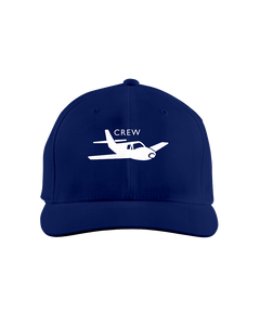 Crew single engine low wing white art on dark cap