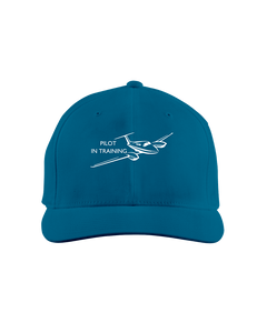 Pilot in training  single engine low wing white art on dark cap