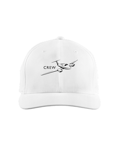 Crew  Twin engine low wing black art on light cap
